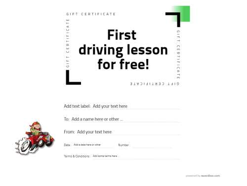 fun design driving lesson free gift certificate template for home printing. editable grapghics and text