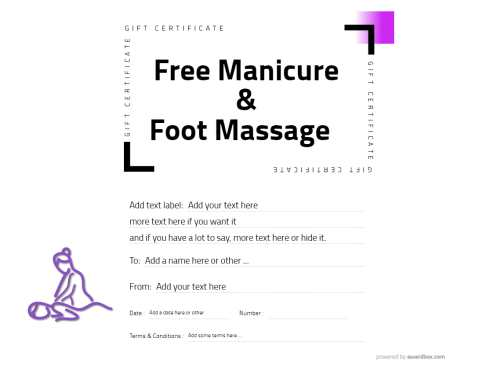 free massage gift certificate template with massaging graphic and modern simple background for editing and print