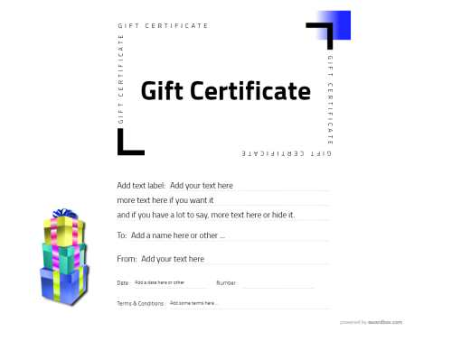 make your own gift certificate free blank template with small yellow background highlight for home or professional printing