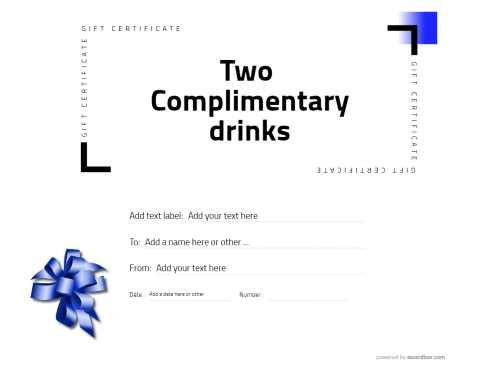 free hospitality gift certificate template with fillable text and editable decoration graphics on a white modern design background