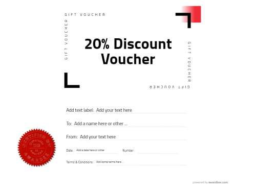 discount voucher template for free home and commercial use with logo option, printable clean modern design