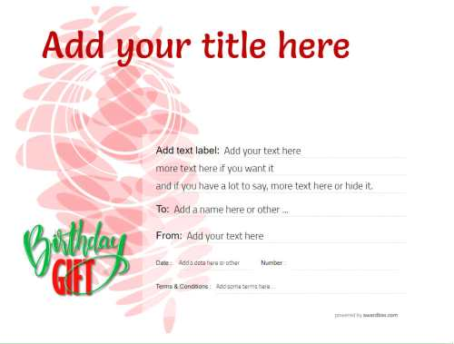 modern birthday gift certificate free template to print and download to use on social media and home.