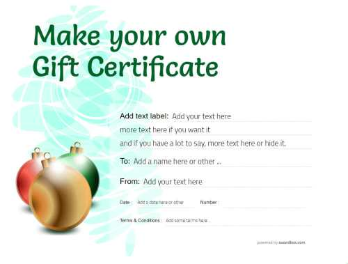 make your own christmas gift certificate with customizable text and editable decorations. suitable to print and social media