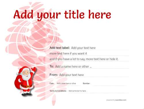fun christmas gift certificate with cheeky santa cartoon decoration. free to print at home or commercial use
