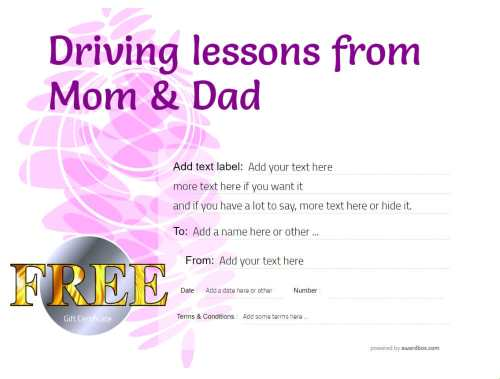 free to download and print at home driving lesson gift certificate templates. customizable with fillable text and graphics
