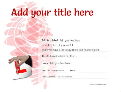 free gift certificate template for driving lesson with editable decorations and customizable text for printing