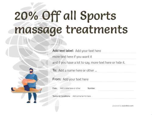 sports massage offer printable gift certificate free template with editable text and configurable graphics