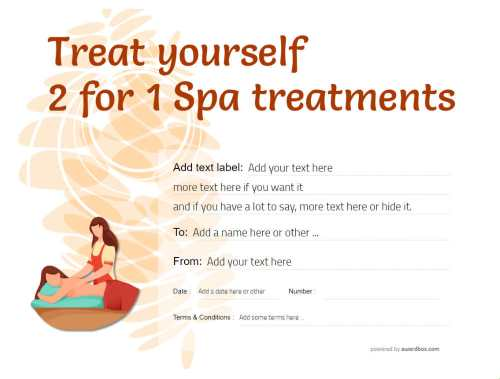 free spa treatment gift certificate customizable template with swapable graphics to print or download