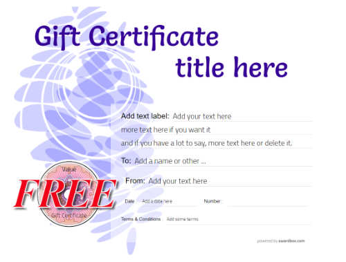a modern gift certificate template with orange higlight for free customizing and download