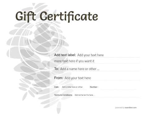 blank printable gift certificate to customize free template with editable text and graphics and black and white background