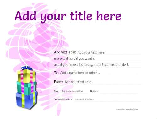purple modern graphic background with gift boxes decoration free customizable gift certificate template to print or download
