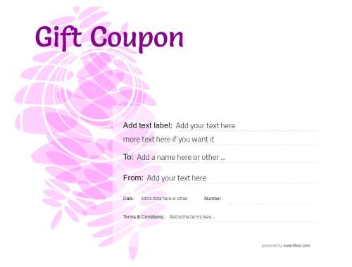 nice purple gift coupon template with editable text and decorations both printable and suitable for social media